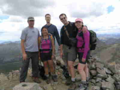 Brad, Shari, Lonny, Brian, and Lisa on the summit