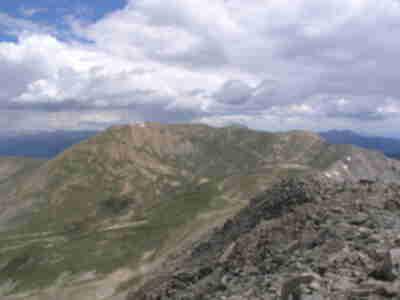 Belford Peak, visible across Missouri Gulch, which drops down over 1,500 feet below