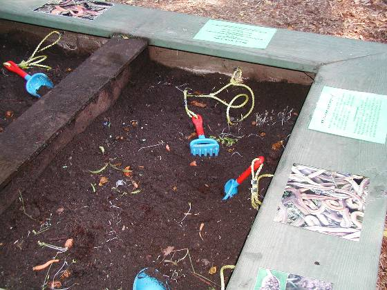 Worm Bin - shovels were attached with nylon rope