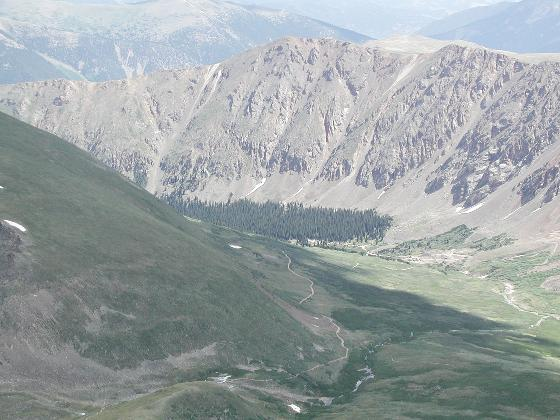 Valley below with the trail leading up to Grays and Torreys