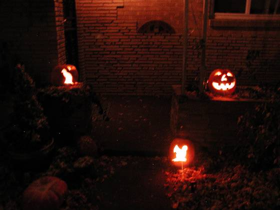 Our front porch on Halloween night