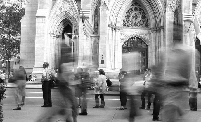 People in front of St. Patrick's Cathedral