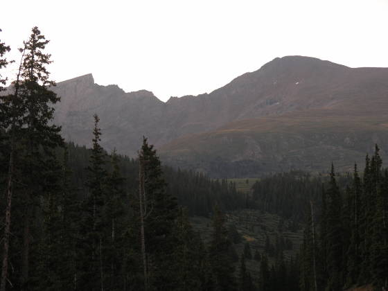 The sawtooth (left) and Mt. Bierstadt (14,050 ft)