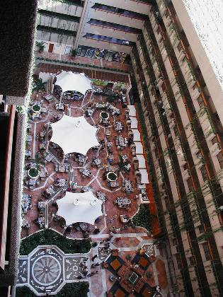The hotel atrium from the 11th floor