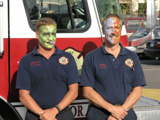 The firefighters got their faces painted