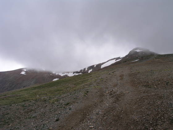 Lincoln summit (14,286 ft) obscured by clouds