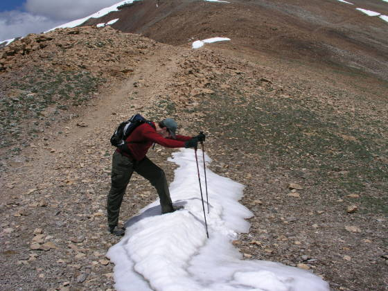 Brian also crossing the death-defying snow field