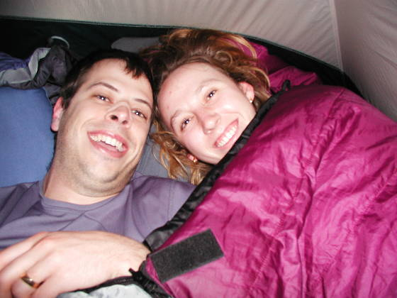 Brian and Lisa, in the uni-sleeping bag
