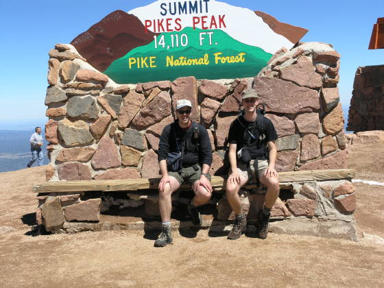 Brian and Lonny at the summit...where the sign was