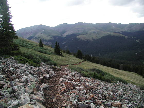 View eastward at Continental Divide (ridge in distance)