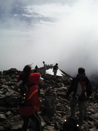 A crowded 14er summit in Colorado