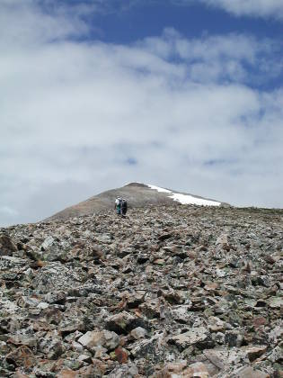 Looking back at the Quandary Summit from aroun 12,000ft