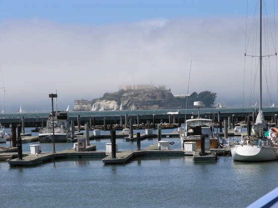 Alcatraz, shrouded in fog