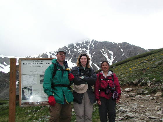 Brad, Lisa, and Shari in front of Torre Peak (summit is cloudy)