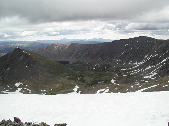 Stevens Gulch from above the Torreys snowfield (looking east)
