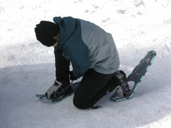 Strapping on our snowshoes