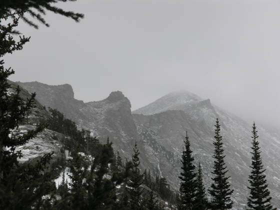 "Looking up towards ""The Keyhole"" on Longs Peak"