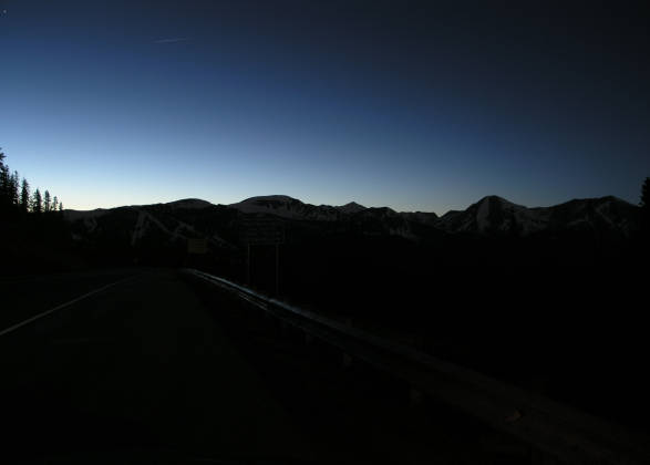 The twilight sky from the top of Monarch Pass