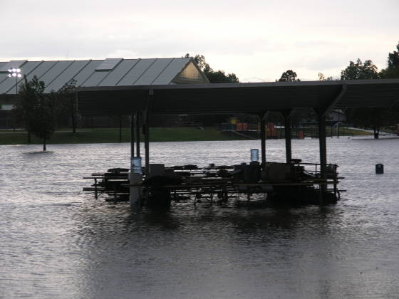 A covered picnic table, submerged