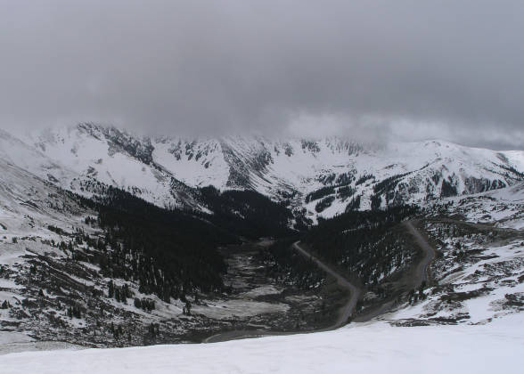 Looking down towards A-Basin Ski Area (far right)