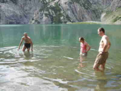 The soothing 60 degree waters of Snowmass Lake