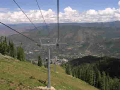 Looking down the gondola line at Aspen