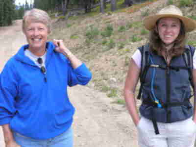 Joan and Lisa, hiking on Copper Mountain
