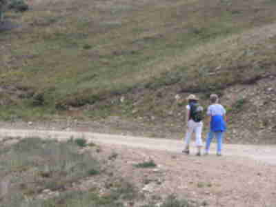 "Lisa and Joan, hiking up the ""Easy Road"" run"