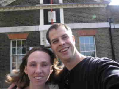 Brian and Lisa on the Prime Meridian (0 degrees)