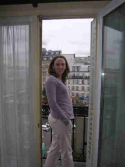Lisa on the porch of our hotel room