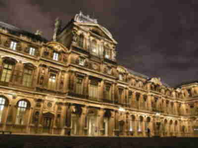 Museé du Louvre eastern courtyard at night