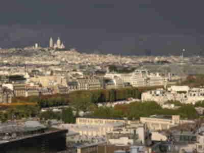 Sacré Coeur as seen from the first platform of the Eiffel Tower