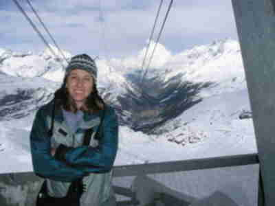 Lisa, at  Trockener Steg, Zermatt in the distance