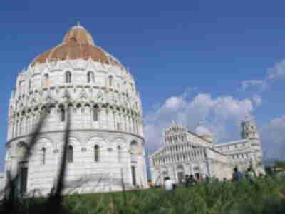 Baptistry, cathedral, and tower in Piazza del Duomo