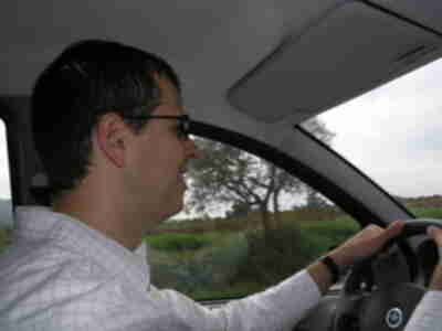 Brian in a driving action shot