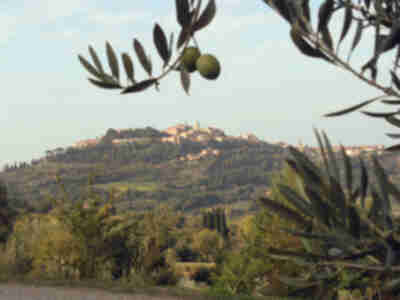 Montepulciano, visible on our way back to Pienza