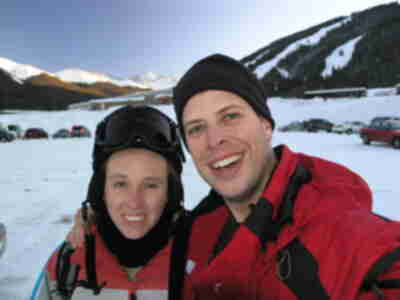 Brian and Lisa, after a long hard day of skiing