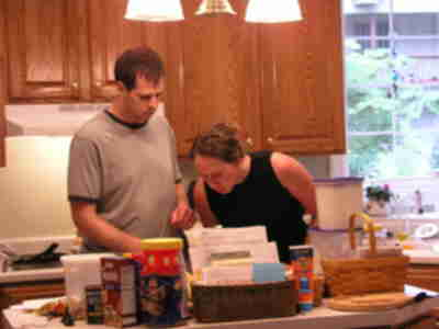 Brian and Lisa, making dinner