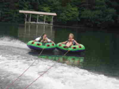 Elaine and Joan, tubing