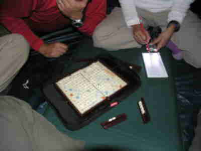 Playing Scrabble in Brian's tent