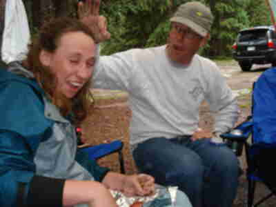 Lisa, after having getting hit by Brian (who was killing a mosquito)...Brad going in for another kill
