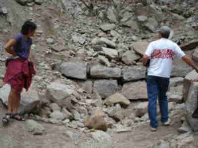 Brad and Shari examine what's left of the caved in Alpine Tunnel