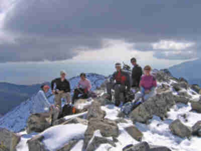 Lisa, Lonny, Shari, Brad, Brian, and Tracy on the summit