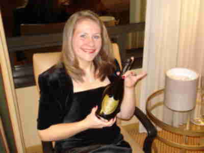 Tracy and her bottle of Dom Perignon