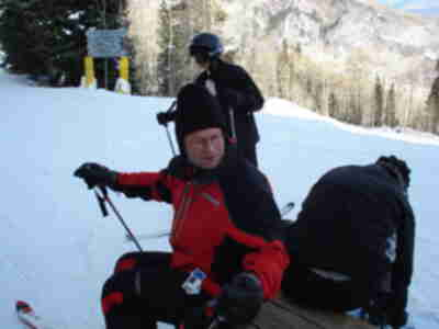 Brad, prepping to ski down Ute at Sunlight