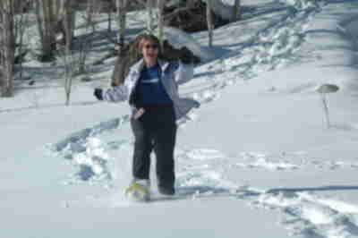 Tracy, running through the snow