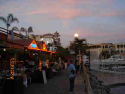 Restaurants along the marina