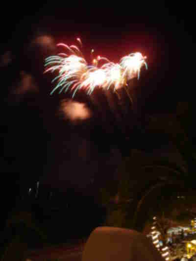 Fireworks from the neighboring hotel on the beach