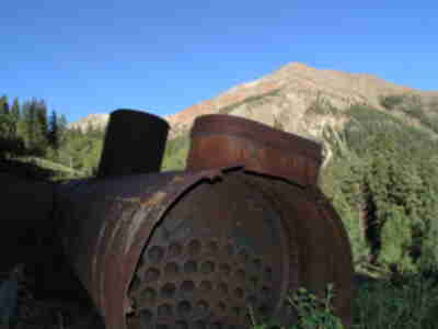 An old rusted boiler sticking up above our camp (from an old mine)