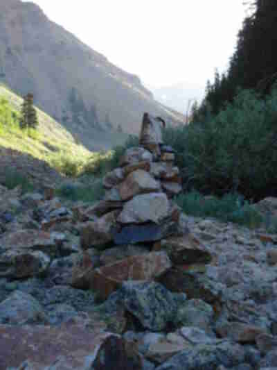 A cairn marking an alternate trail up Sunshine (with an old coffee pot on top)